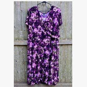Covington Faux Wrap Abstract Floral Dress, Size 3X